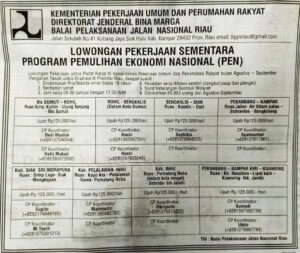 Lowongan Kerja PU Riau